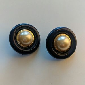 Vintage navy blue and gold pearl earrings